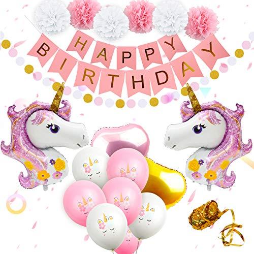 (Einhorn-Ballons Geburtstag Party Dekorationen - Einhorn Geburtstag Party Supplies Kit, inklusive Rose Gold Happy Birthday Banner, Pink & Gold Herz Ballons, Papier Pom Poms für Baby Shower Dekorationen)