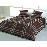 Comptoir du Linge Glasgow Funda Nórdica de 240x 260x cm + 2fundas de almohada 65x 65cm Algodón Gris y rojo