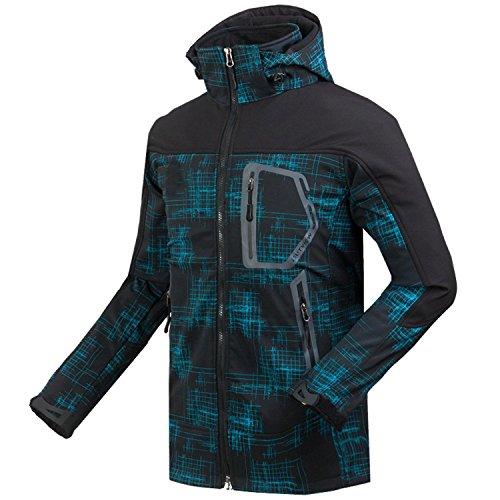 Linyuan Outdoor Warm Jacket Windbreak Hooded Soft Shell Fleece Jacket Blue