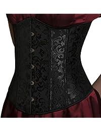ANGELYK corsets habillés - Vrai Corset Habillé Romance Serre-Taille Noir  Baleines en Acier Spiralé a3aabc0599c