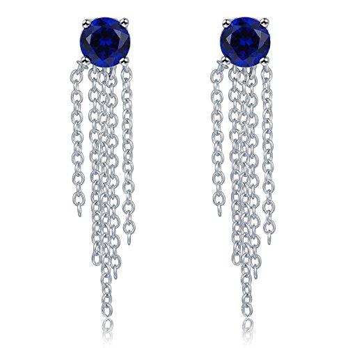 Sterling Silber 925Blau CZ Quaste Kette Drop Ohrstecker Ohrringe Frauen Schmuck Geschenk (Tiffany Blau Ohrstecker)