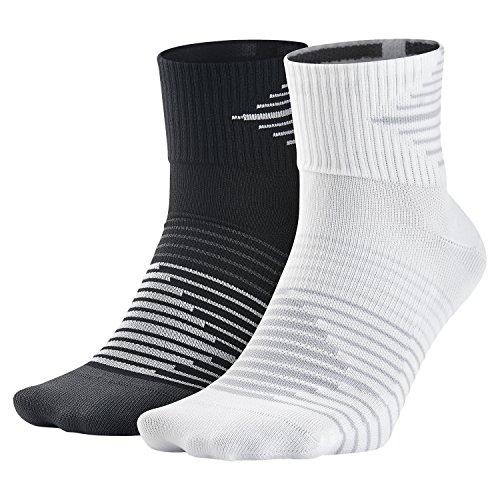 Dri-fit Quarter Socken (Nike Herren Dri-Fit Lightweight Socken, 2er Pack, Blck/Anthcte/Whte/Drk Grey, L)