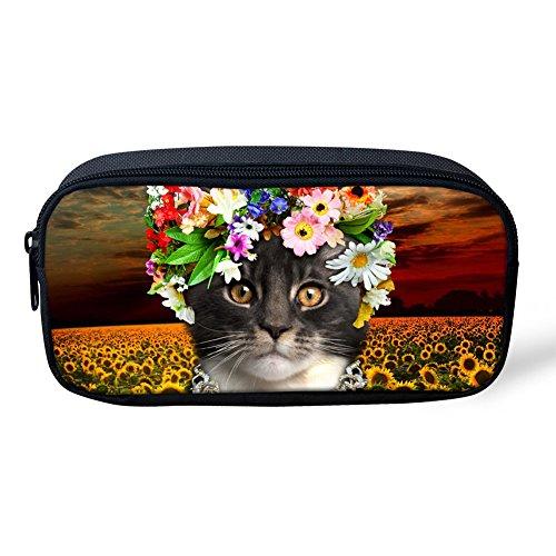Kapazität Smart Print (Umarmungen Idee Flower Cat Print Federmäppchen Pen Tasche Student Schreibwaren Beutel 22x4.5x11CM Cat3)