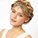 Towallmark(TM) Pearl Tassel Flower Stretch Headband Hair Band Crystal Hair Chain (White)