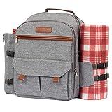Lazybare Picknick-Rucksack für 4 Personen mit Decke, isolierte wasserdichte Kühltasche für Outdoor Wein Picknickkorb Set