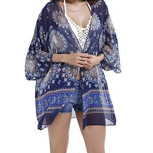 ... Highdas Damen Sommerkleid Kimono Bikini Cover Up Sommer Strand Bikini  Pareos Strandkleid One Size Color B ...