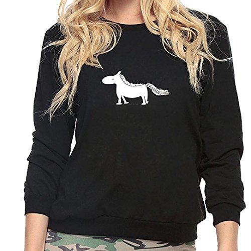 Pullover Rundhals AMUSTER Frauen Mädchen Plus Size Sweatshirt Lange Ärmel Zebra Drucken Crop Jumper Heavy Blend Kapuzen-Sweatshirt (L, Schwarz)