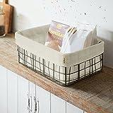 Cesta de alambre de metal con tela de algodón, cesta de alambre rectangular con forro se puede utilizar como cesta de almacenamiento, cesta de pan y cesta de frutas para sala de estar, baño y oficina