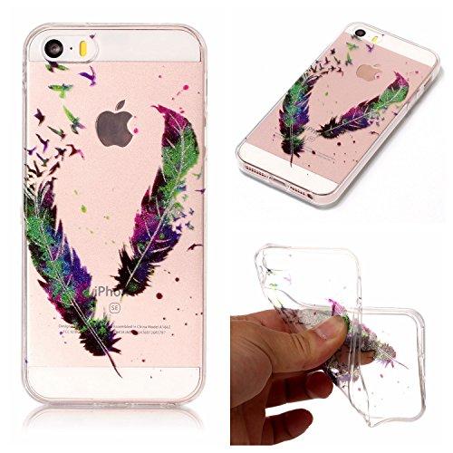 Cozy Hut iPhone SE 5 5S 5G Hülle, Bling Glänzend Glitzer Klar Durchsichtige TPU Silikon Hülle Handyhülle Tasche Back Cover Schutzhülle für iPhone SE 5 5S 5G - Farbige Federn