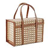 GC Lagerkorb-Box mit Deckel, Umweltfreundlicher Bambus Korb, Handgefertigter Korb, Natürlicher Bambus-Weidenkorb-Speicher