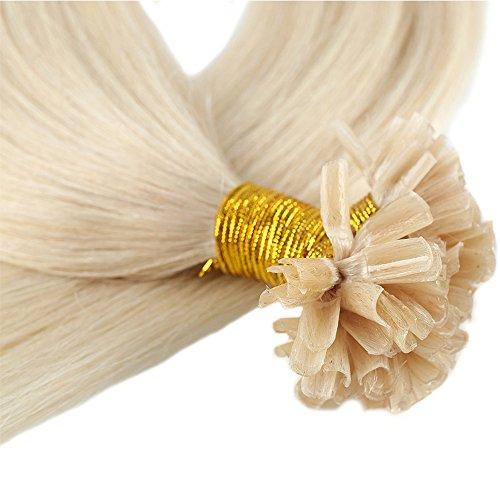 40-55cm extension bionde capelli veri cheratina naturali indiani 200 ciocche 100g remy human hair u tip pre bonded hair extensions (40cm #60 biondo platino)
