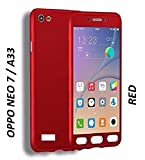 Full Body Protection 360 Degree ipaky Hard Case Hybrid Front + Back Case Cover & Tempered Glass For OPPO NEO 7 - Red