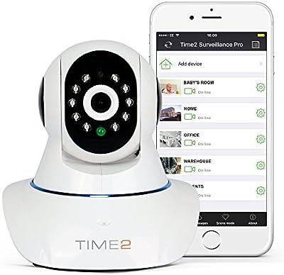 Cámara IP HD Wifi Con visión nocturna Cámara de vigilancia Seguridad - Pan Tilt Rotación 360º - 720P 1.0 Megapixel P2P IR-Cut Detección de movimiento Microfono altavoz Alertas móviles y email Tarjeta TF (hasta 64GB) Android / iOS / Windows - Blanco