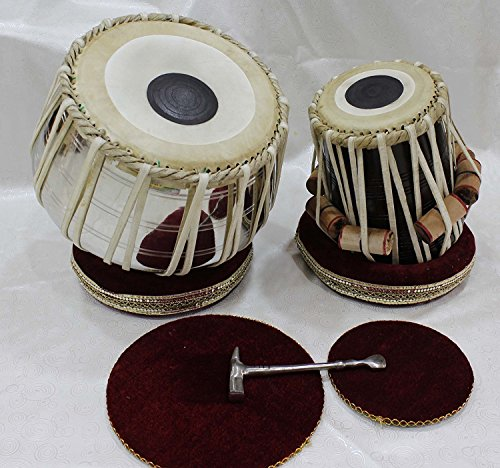 Musical Nut/Bolt Tuned Tabla SE, Bayan: Made of Stainless Steel, 2.5 kg, Handmade from India with Cushions (White)