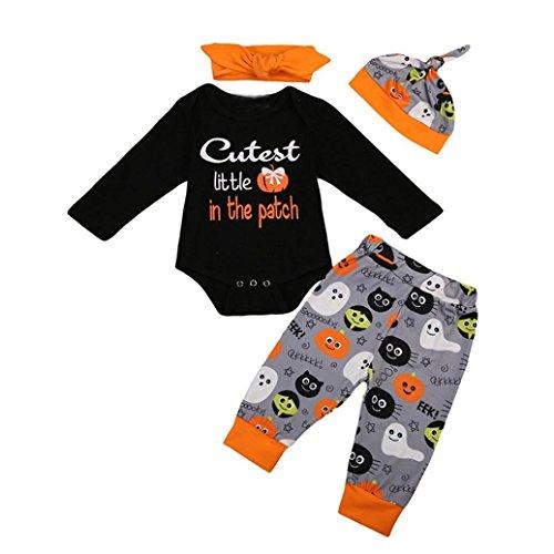 stüm, Baby langärmlig, Kürbis-Muster, Bedruckter Strampler + bemalte Hose, Haarbänder, Mütze NJ1 ()