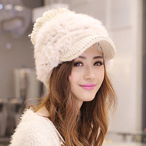 BTBTAV*Winter stilvolle Kaninchen Haar gestrickte Hüte Kampagne hat schöne Kind grob Kugel pelzhut Tide , beige (Kampagne Hat)