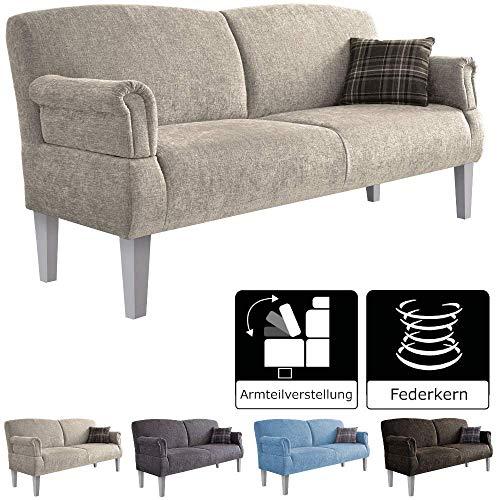 Cavadore 3-Sitzer Sofa Pasle mit Federkern für Küche, Esszimmer / Küchensofa, Essbank im modernen Landhausstil / verstellbare Armlehnen / Holzfüße weiß / 181 x 98 x 81 cm / Chenille-Bezug in beige -