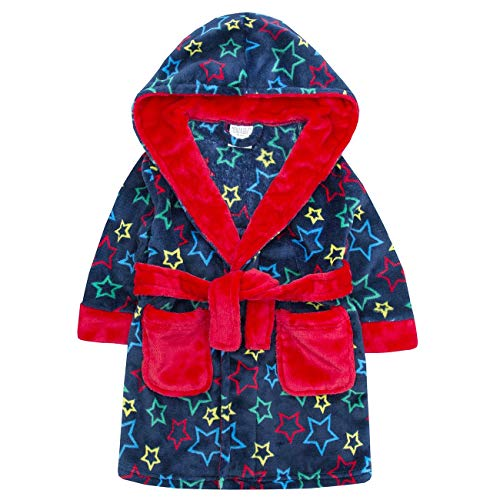 Style It Up - Bata - niño Blue/Red Star Robe - Hooded