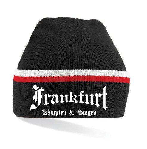 Frankfurt Ultras Kämpfen & Siegen Strickmütze gestreift|schwarz-rot