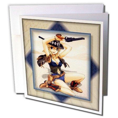 3dRose Gc_24103_2 Grußkarten, Anime Cowgirl, 15,2 x 15,2 cm, 12 Stück