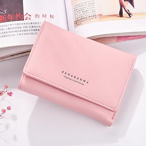 Portafoglio Donna, Tpulling Borsa della borsa della borsa della frizione della borsa del raccoglitore del cuoio delle donne (Purple) Pink