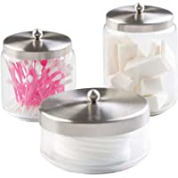 mDesign Pot en Verre pour Salle de Bain (Lot de 3) – Rangement Coton pour Les disques de Coton et Les Coton-tiges – Pot…