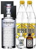 Gin-Set The Botanist Islay Dry Gin 0,7 Liter + The Duke München Dry Gin 5 cl + Monkey 47 Schwarzwald Dry Gin 5 cl MINIATUR + 2 x Goldberg Tonic Water 1,0 Liter + 2 Schieferuntersetzer quadratisch 9,5 cm