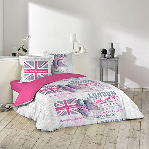 Douceur d'Intérieur GIRLY LONDON Parure avec 2 Taies d'oreillers Coton Multicolore 240 x 220 cm