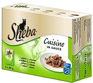 Sheba Cuisine Katzenfutter Saucen Variation, 48 Beutel (48 x 85 g)
