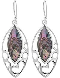 Ornami Sterling Silver and Abalone Pierced Out Family Tree Drop Earrings