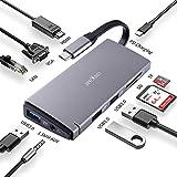 Hub USB James Donkey, tipo di hub C 10 in 1 multifunzione, con 4 porte USB 3.0, porte HDMI 4K, VGA, Ethernet RJ45 Gigabit, porta Tipo C PD 60W, lettore di schede SD e TF per Macbook Pro 2019 Alluminio