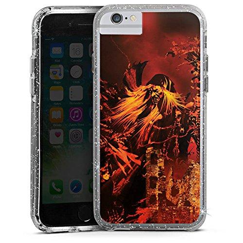 Apple iPhone 8 Bumper Hülle Bumper Case Glitzer Hülle Doro Feuer Fire Bumper Case Glitzer silber