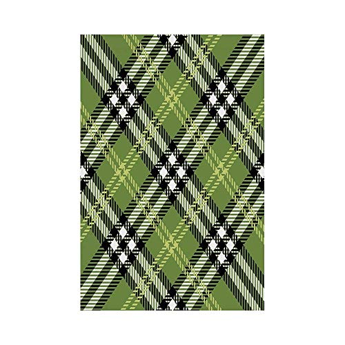 gthytjhv Checkered Classical Celtic Pattern Symmetrical Stripes and Squares Print Decorative Fern Green Black Light Yellow House Garden Family Event Decoration