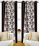 Super India Floral Polyester Window Curtain - 5ft, Brown