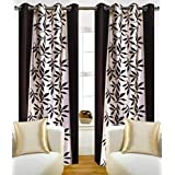 Super India Floral Polyester (Pack of 1) Door Curtain (7ft) - Brown