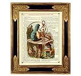 Alice im Wunderland Raupe Pilz Kunstdruck auf viktorianischer Buchseite Geschenk Geburtstag Taufe Steampunk Poster Bild ungerahmt