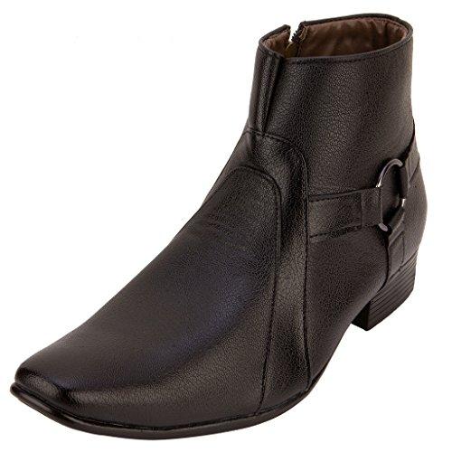 FBT Men's 12610 Black Formal Zip Ankle Shoes - 10
