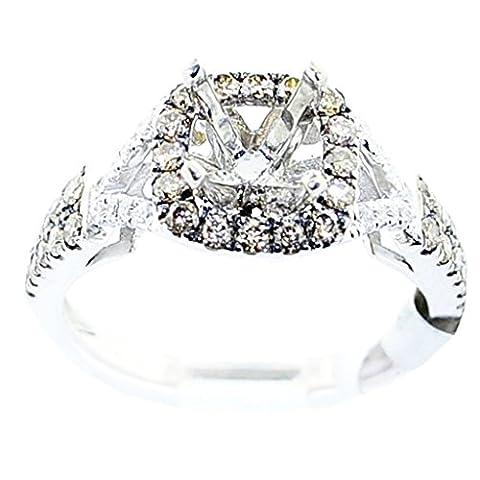 rings-midwestjewellery. com Femme 1/2cttw Cognac et diamant blanc semi Support Bague avec diamant 1carat au total 14K Or Blanc (0,5carat au total)