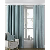 """Riva Paoletti Atlantic Ringtop Eyelet Curtains (Pair) - Duck Egg Blue - Woven Twill Fabric - Ready Made - 100% Polyester - 117cm width x 183cm drop (46"""" x 72"""" inches) - Designed in the UK"""