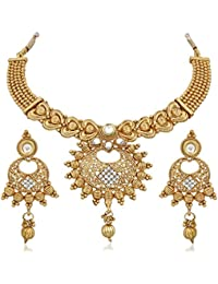 Apara Gold Plated Antique Necklace Set With Austrian Diamond For Women
