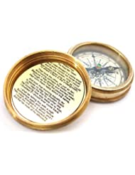 Pocket Compass Brass & Leather -Custodia with Robert Frost Poem Compass-Pocket