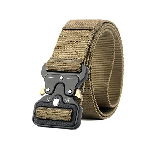 Cinturon MOLLE Tactica Quick Release Mochila Militares Banda CQB Hombre Hebilla Metal Correa Nailon Sport EDC Combate Rigger Belt (Tan)