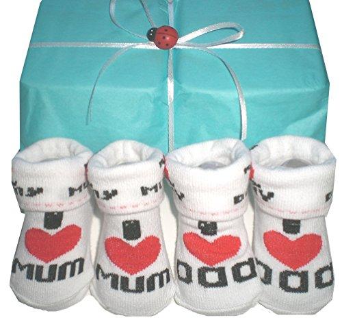 """Preisvergleich Produktbild Babysöckchen """"I love Mum/ Dad"""" Doppelpack Baby Socken Zwillinge geschenk Zwillingskleidung Geschenk Geburt Taufe i love mama papa"""