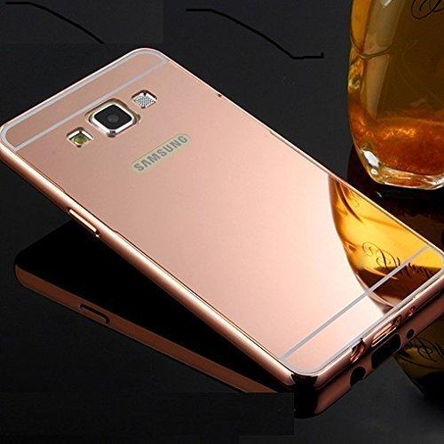 CEDO Premium Luxury Metal Bumper Acrylic Mirror Back Cover Case For Samsung Galaxy J7(6) (2016) SM-J710 - Rose Gold