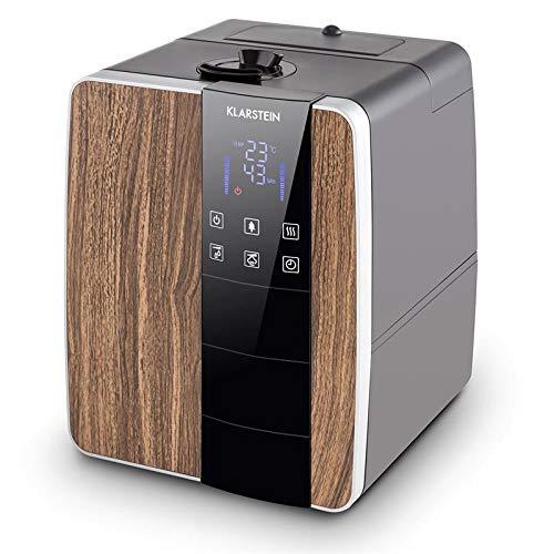 Klarstein Montreal D Humidificador • Ionizador • Humedecedor • Sensor ultrasónico • Función de Calor • Capacidad: 350ml/h • Tanque de Agua: 6L • Display LED táctil • Marrón Claro