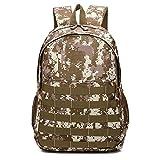 SUZONC Zaino Camouflage Zaino Summer Camp Student School Bag Marrone 32 * 18 * 46Cm
