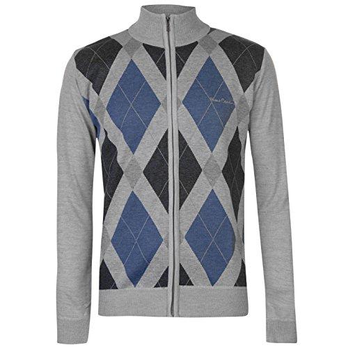 Homme Nouvelle Saison Argyle Pull tricoté col Ras du Cou col en V et Fermeture Éclair 1/4 - - Medium