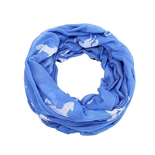 AnJuHoPa Halstuch Loop Schal Schlauchschal Pferdmotiv gewebt Viskose frische Farben Damen hellblau