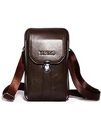 AOLVO Bolso pequeño para cinturón de piel para hombre, diseño de bandolera de viaje, color negro, marrón oscuro, regalo para el día del padre Coffee 7003