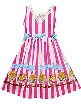 Sunny Fashion - Vestito a righe, bambina, rosa